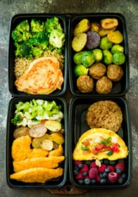 Meal prep your way to healthier, happier, more satisfied you! With Personal Trainer Food you're given the choice of a variety of delicious, easy meal prep options. Get organized at the beginning of a busy week by meal prepping healthy and delicious breakfasts, lunches, dinners and snacks!