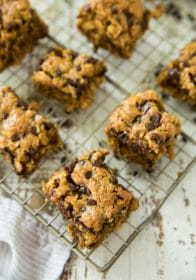 Chocolate Chip Oatmeal Bars on a wire cooling rack