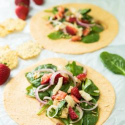 This Strawberry Spinach Chicken Salad Wrap is simple to make and so perfect for lunch!