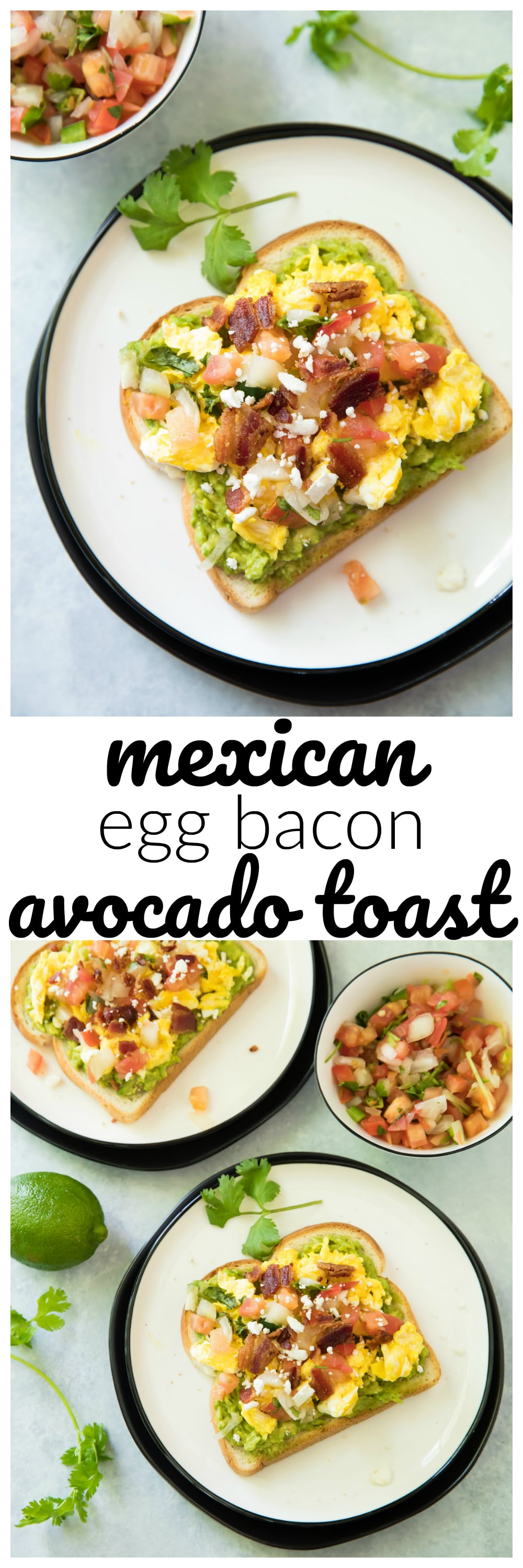 This Mexican Egg Bacon Avocado Toast is simply one of the best breakfast solutions of all time. It's made in less than 10 min from start to finish, and is super delicious with endless options. Have you jumped on the avocado toast bandwagon? Yes? Well, enjoy my favorite avocado toast recipe idea!