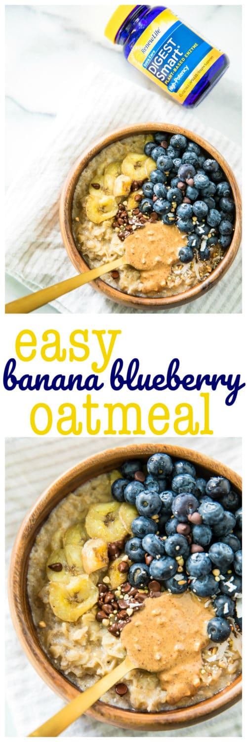 Treat yourself with a warm bowl of this delicious Easy Blueberry Banana Oatmeal! Healthy, super filling and ready in under 10 minutes, it's the perfect breakfast recipe to fuel your morning.