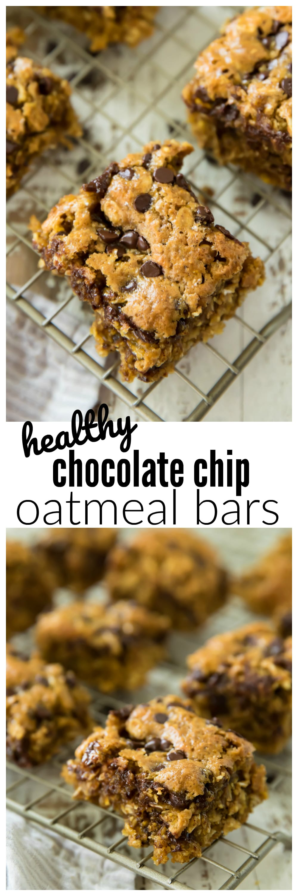 Healthy Chocolate Chip Oatmeal Bars are perfect as a quick and easy on-the-go breakfast, snack, or dessert! They are made with whole grain oats making them as healthy as your morning bowl of oatmeal!