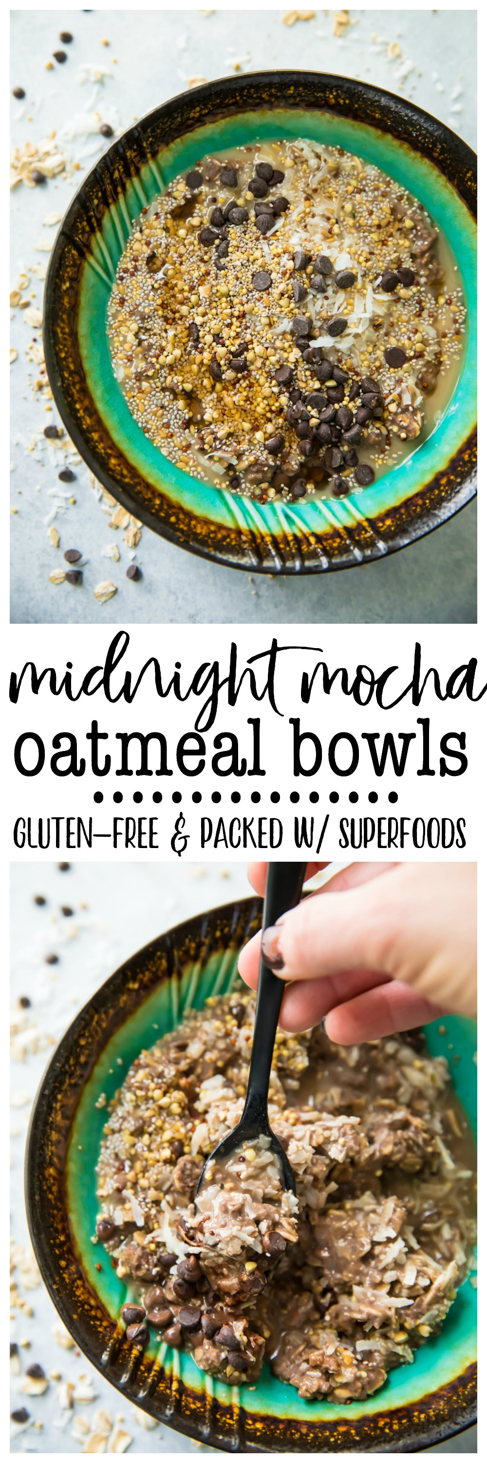 Coffeelovers rejoice! Take oatmeal to a whole new level of deliciousness with wholesome, yet decadent Midnight Mocha Oatmeal Bowls.This breakfast will make you excited to get out of bed in themorning! Vegan friendly, gluten-free, and packed with fiber, these oatmeal bowls make a perfect healthy and easy breakfast or snack!