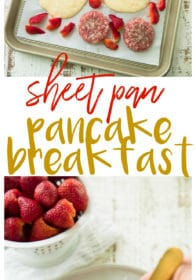 Sheet Pan Pancake Breakfast withSmithfield Hometown Original Fresh Breakfast Sausage and roasted strawberriesis very easy to whip up and takes just 20 minutes to bake, giving you more time for morning cartoon snuggles!