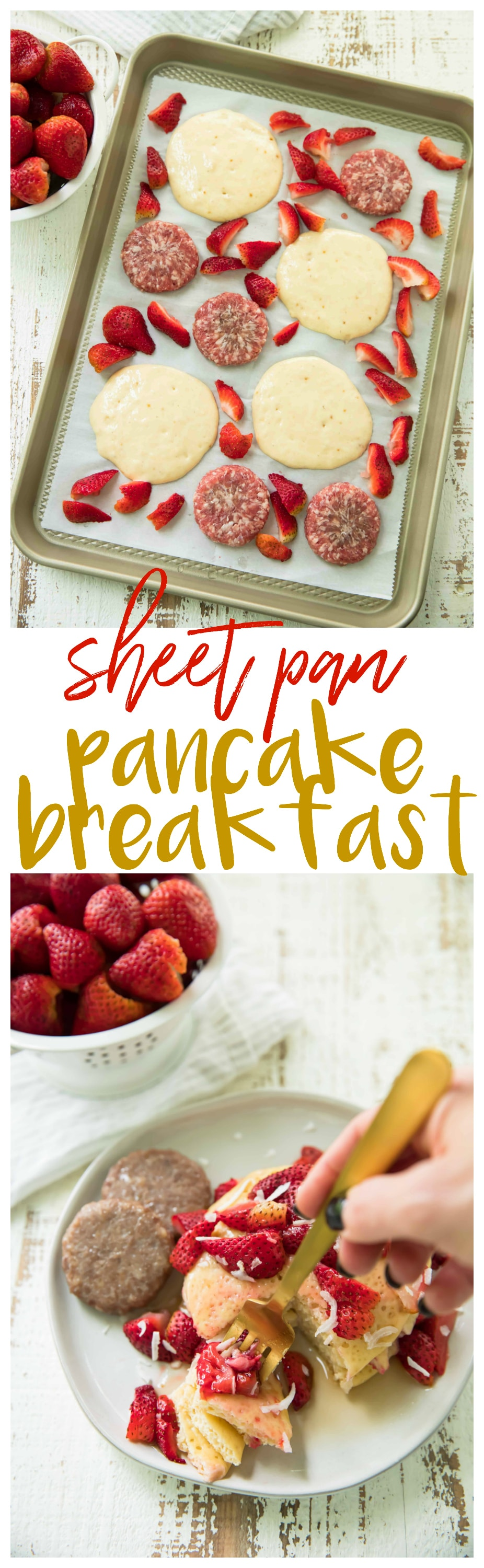 Sheet Pan Pancake Breakfast with Smithfield Hometown Original Fresh Breakfast Sausage and roasted strawberries is very easy to whip up and takes just 20 minutes to bake, giving you more time for morning cartoon snuggles!