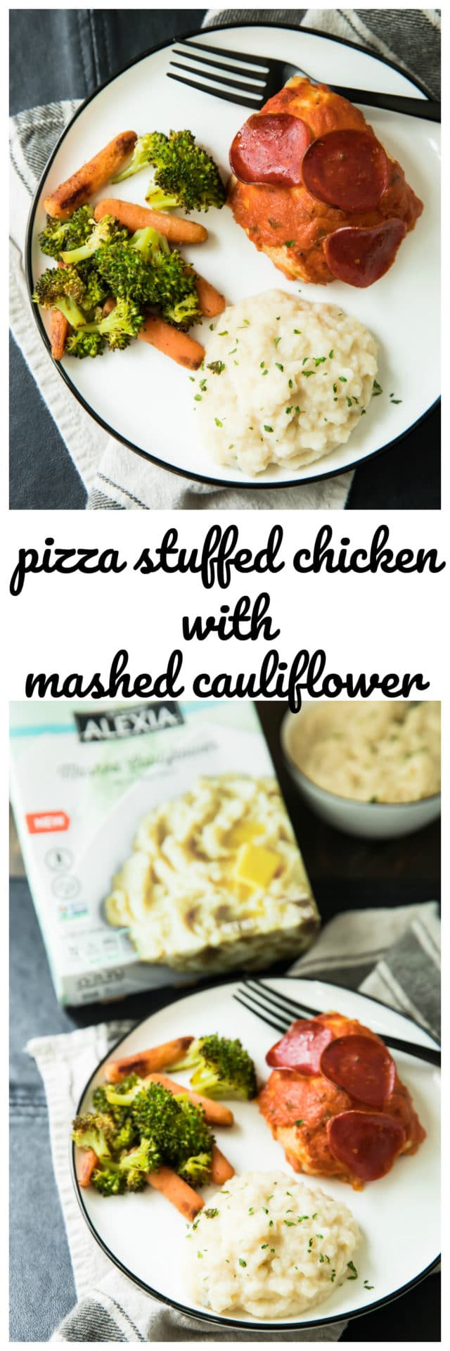 Pizza Stuffed Chicken With Mashed Cauliflower is a complete family-friendly meal withall the delicious flavors of pizza, but with extra protein from the chicken, and none of the empty calories/carbs from the crust!