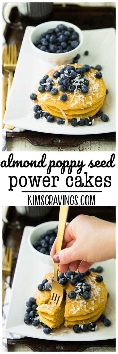 Fluffy and piled high, these Almond Poppy Seed Power Cakes are the sweetest way to wake up in the morning! They are easy as can be and packed with whole wheat goodness, protein and the most delicious almond flavor.