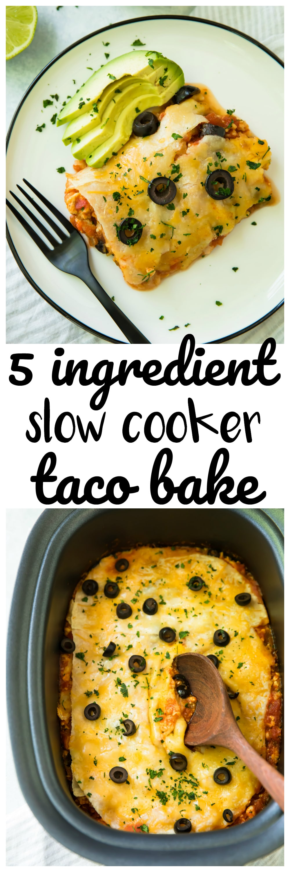 Healthy, easy 5 Ingredient Slow Cooker Taco Bake. Just set it and forget it for a cheesy, protein-packed meal the whole family will love!