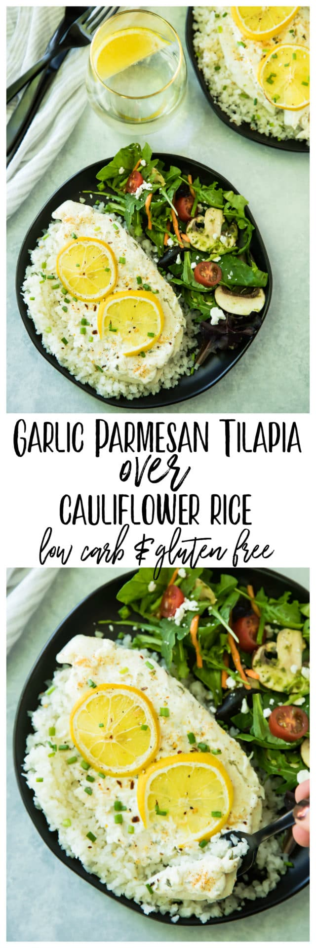 Garlic Parmesan Tilapia Over Cauliflower Riceis ready in less than 20 minutes! The tilapia cooks up light and flakey, and pairs wonderfully with cauliflower rice. It's one of my favorite ways to enjoy fish, and is so good, that even non-seafood lovers will be won over by this dish!