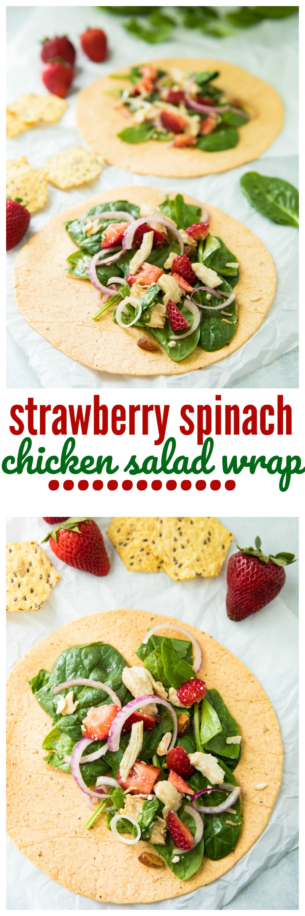 This Strawberry Spinach Chicken Salad Wrap is simple to make and so perfect for lunch! Fresh spring greens, juicy strawberries, crunchy almonds, chicken, and feta cheese come together with amazing flavor.