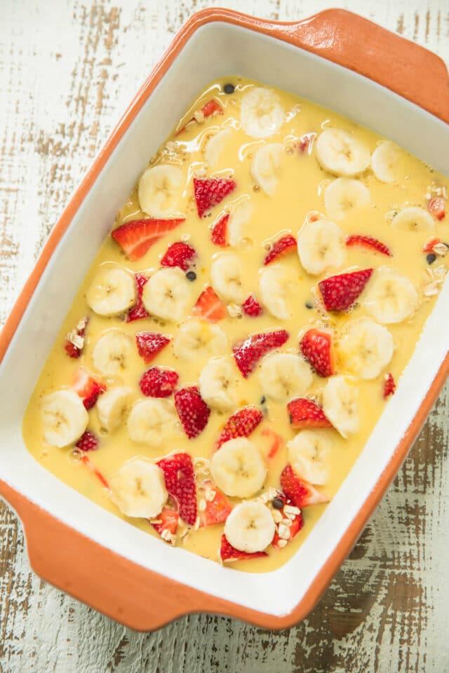 milked mixed into easy strawberry banana baked oatmeal
