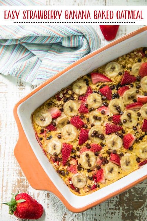 pin for pinterest of easy strawberry banana baked oatmeal