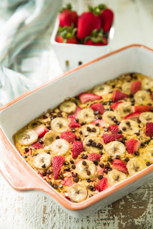 side view of easy strawberry banana baked oatmeal