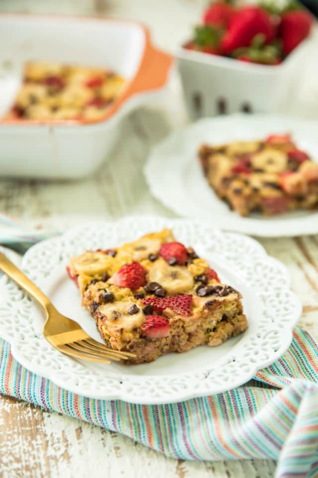 a piece of easy strawberry banana baked oatmeal served on a plate