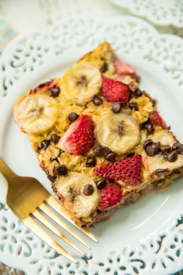 closeup piece of easy strawberry banana baked oatmeal