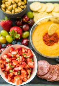 strawberry bruschetta on snack tray