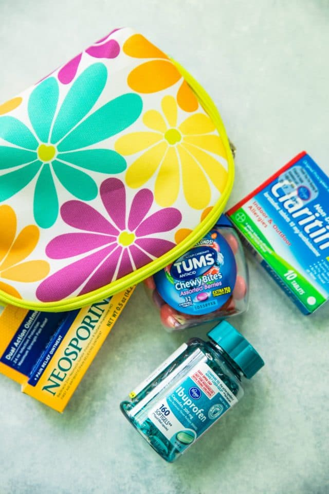 DIY first aid kit in cosmetic bag