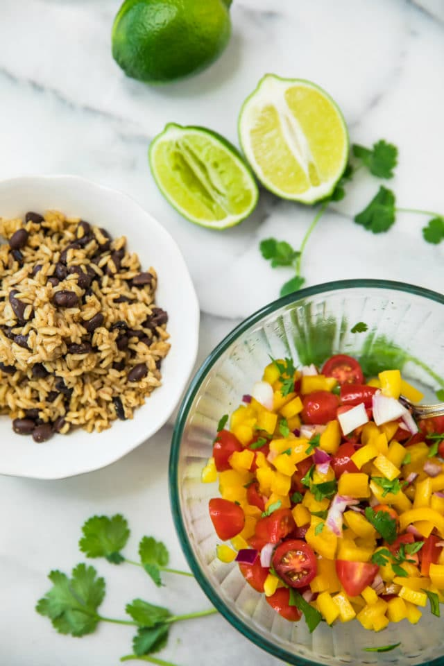 rustic salsa, brown rice and black beans for stuffing Healthy Sweet Potato Burrito Bowls