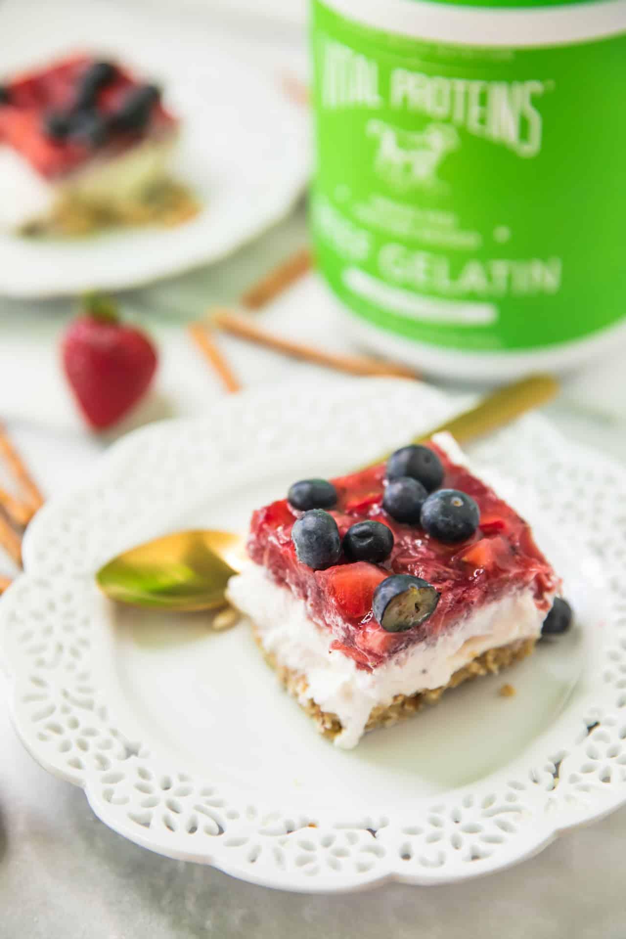 Skinny Strawberry Pretzel Dessert