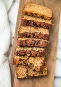 overhead view of sliced Low Fat Flourless Banana Bread with chocolate chips