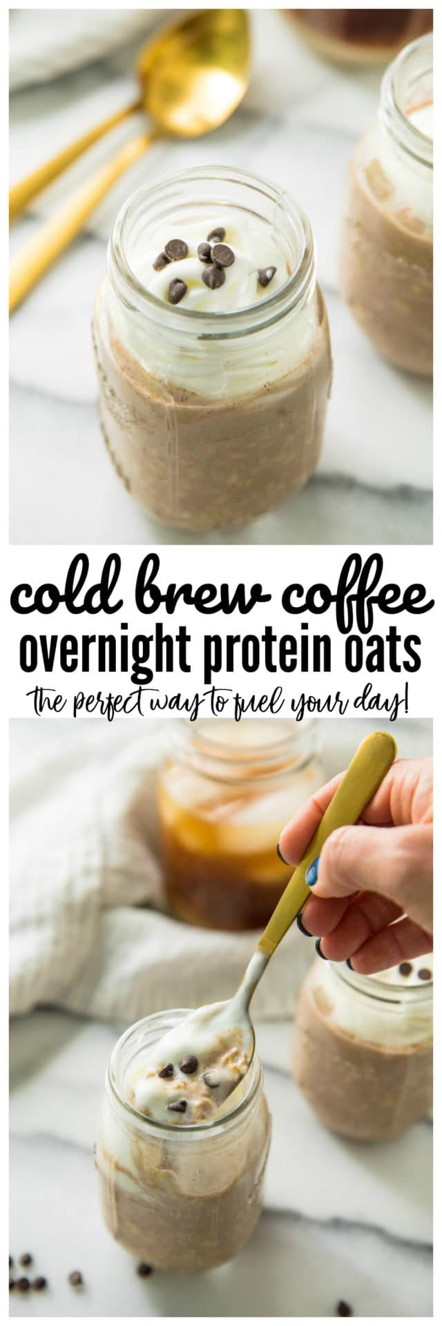 Pinterest image of Cold Brew Coffee Overnight Protein Oats