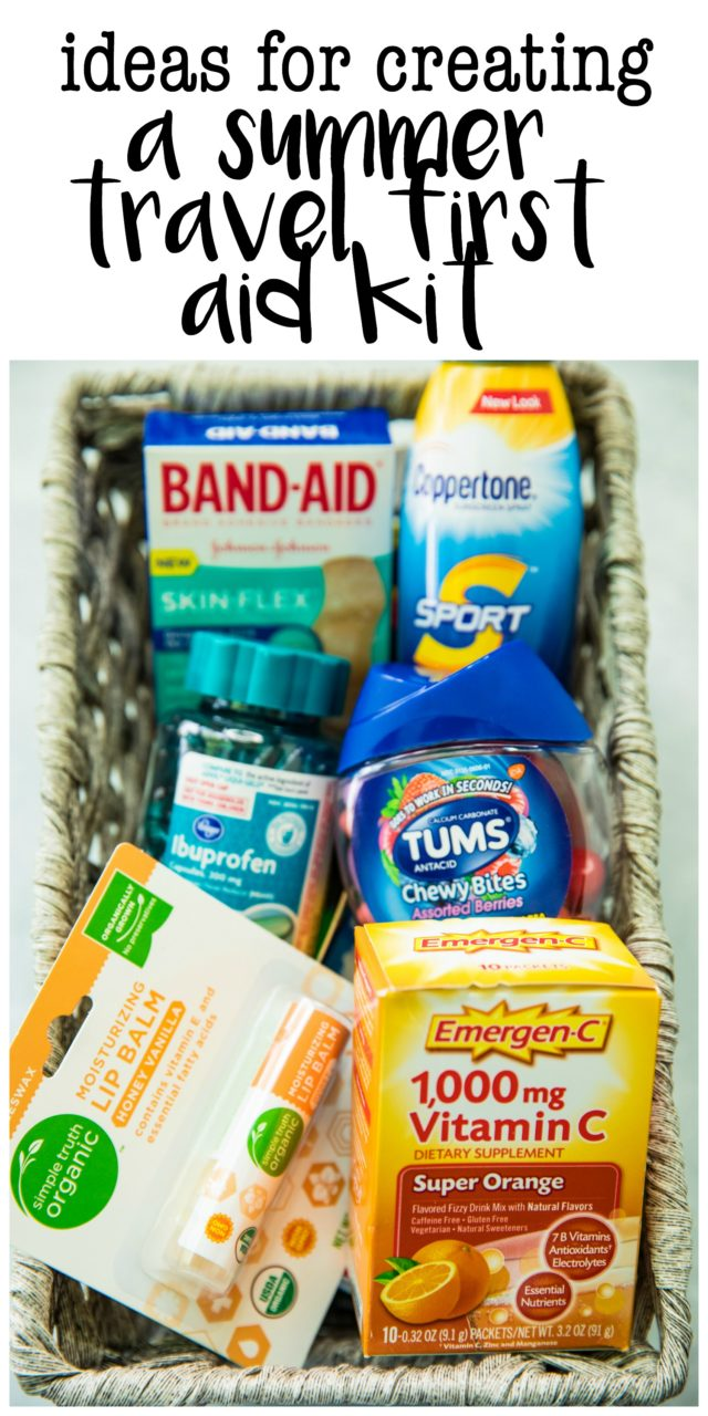 pinterest image for creating a summer travel first aid kit