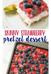 pinterest image of Skinny Strawberry Pretzel Dessert