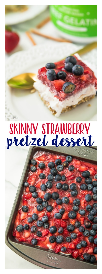 This Skinny Strawberry Pretzel Dessert is guaranteed to please with the perfect combination of flavors! A little sweet, a little salty, and don't forget that dreamy whipped cream cheese layer that knocks it out of the park! It's also so easy and presents beautifully!