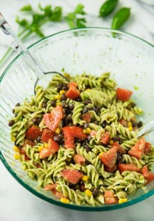 Southwest Jalapeño Pesto Pasta Salad in a glass bowl