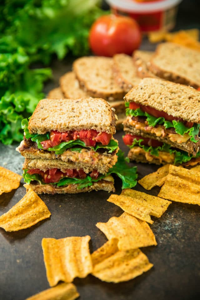 5-Ingredient pimiento cheese BLT sandwiches with chips