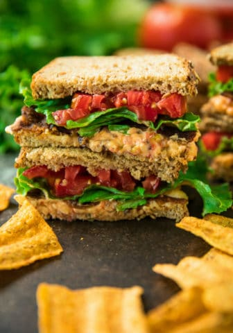 Close up view of stacked 5-Ingredient pimiento cheese BLT sandwiches