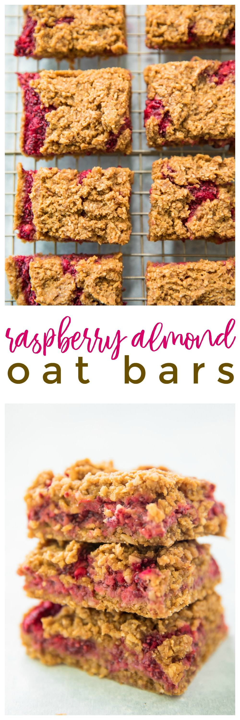 Raspberry Almond Oat Bars are a healthier fruit dessert made with fresh juicy raspberries and a delicious almond oat crumb topping. This wholesome recipe is a favorite, because these tasty treats are easy to make and under 150 calories each!