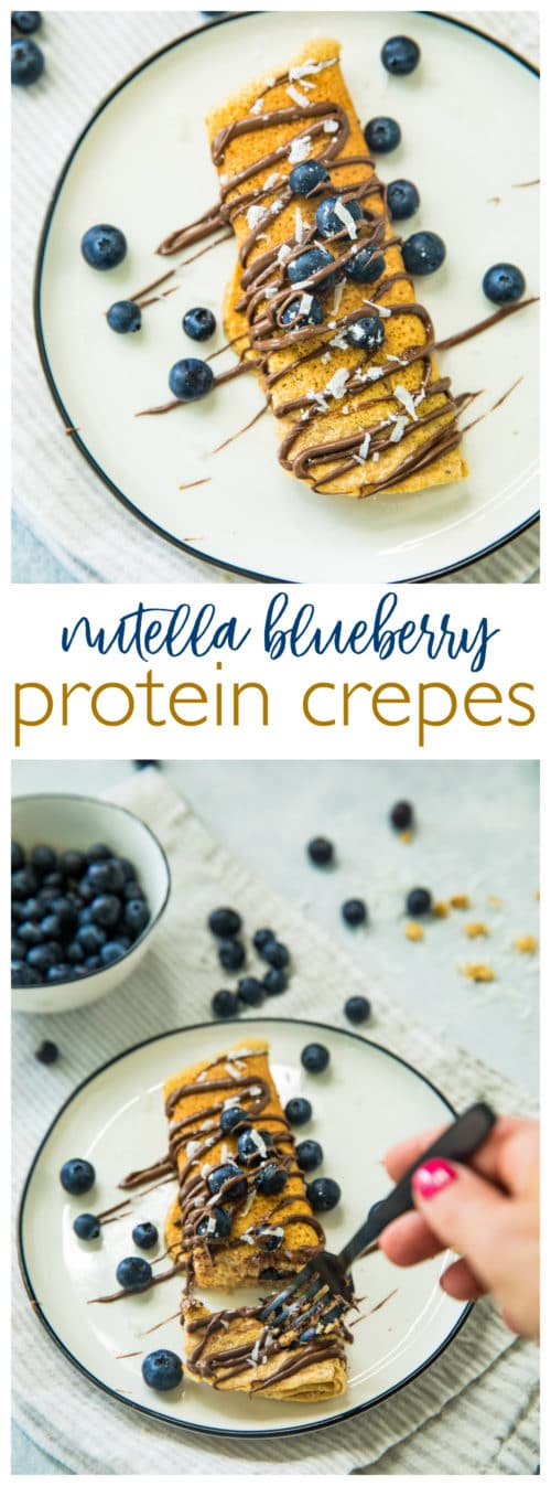 Pinterest image of Nutella Blueberry Protein Crepes
