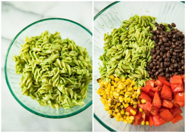 all ingredients separated in a glass bowl for Southwest Jalapeño Pesto Pasta Salad
