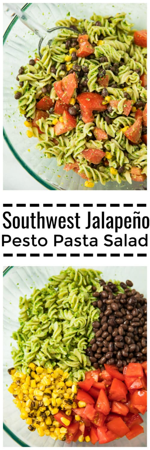 Pinterest image for Southwest Jalapeño Pesto Pasta Salad