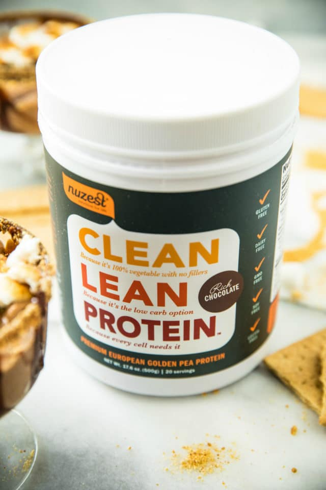 Nuzest protein powder to be used in a Skinny S'mores Protein Shake