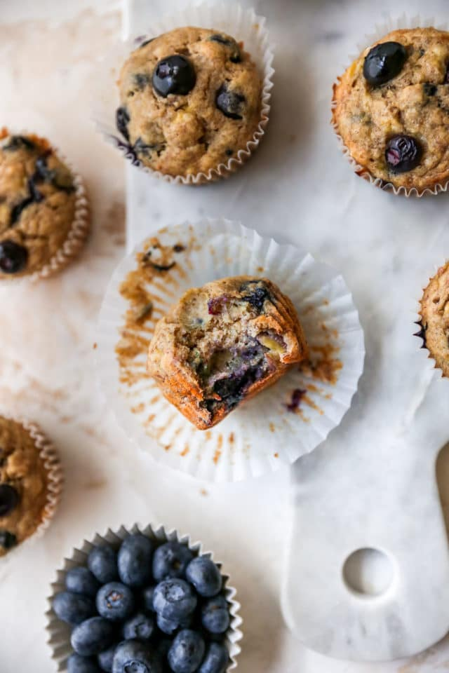 blueberry banana muffin with a bite taken out