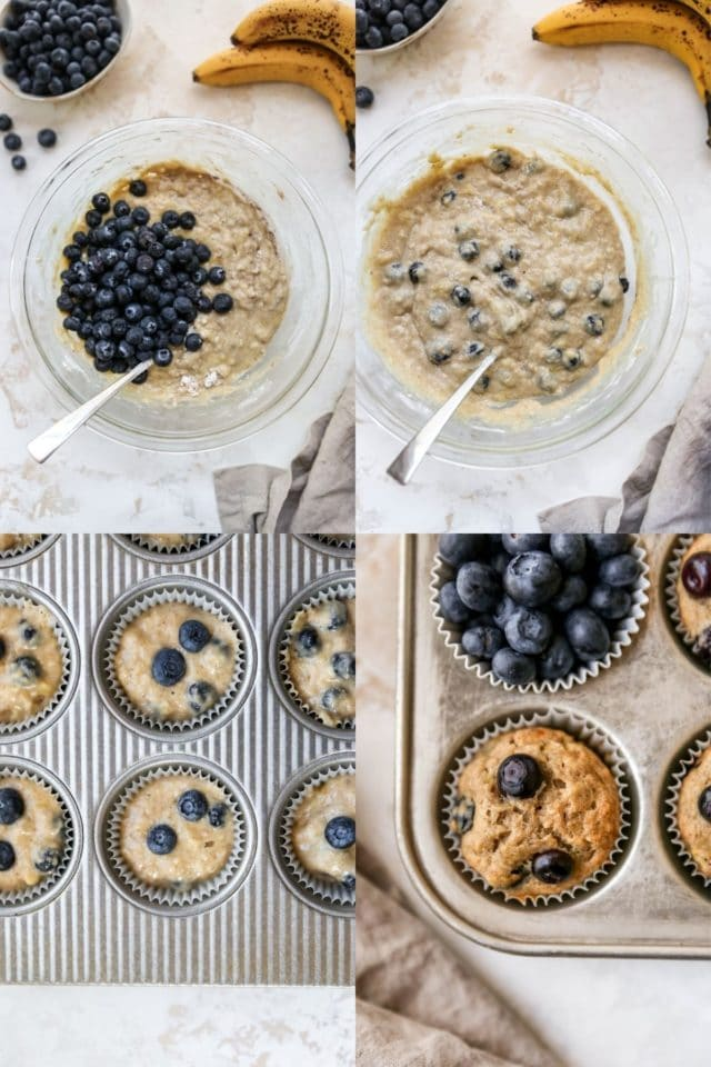 pictures showing steps for how to make blueberry banana muffins