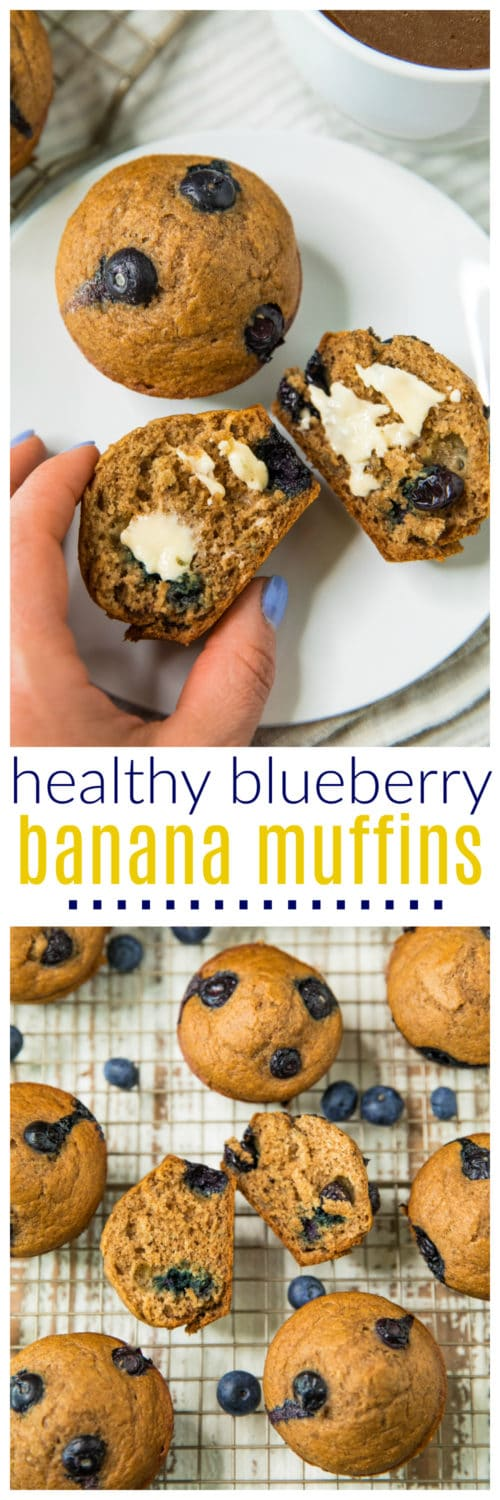 Pinterest image for Healthy Blueberry Banana Muffins