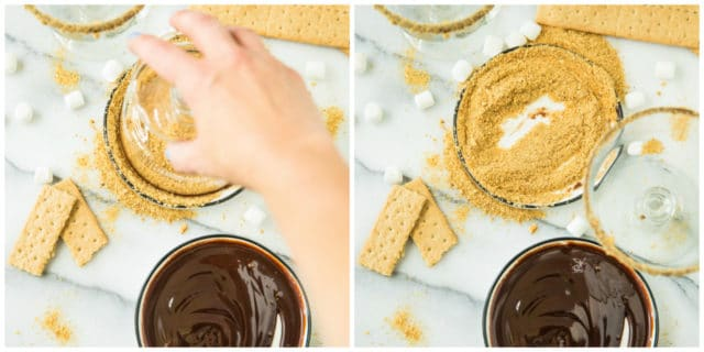 dipping glass into fudge and graham cracker crumbs for a Skinny S'mores Protein Shake