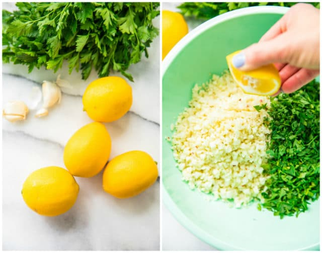 lemons, parsley and garlic cloves to make Simple Lemon Parsley Cauliflower Rice