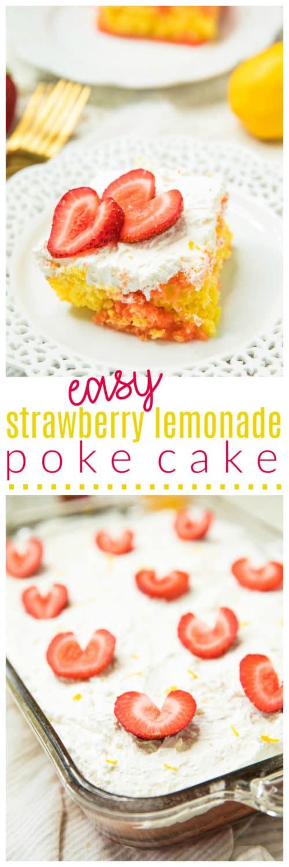 Pinterest image for Easy Strawberry Lemonade Poke Cake
