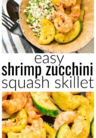 Pinterest image for Easy Shrimp Zucchini Squash Skillet