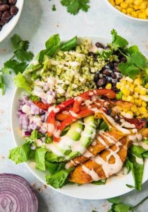 closeup view of Healthy Fajita Chicken Burrito Bowls