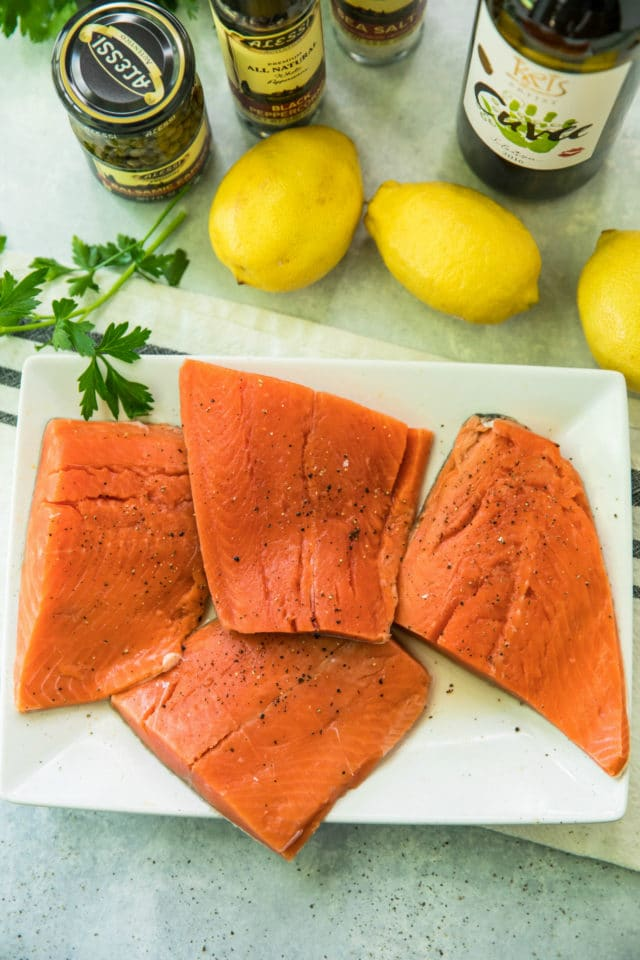 overhead view of salmon and other ingredients for Creamy Salmon Piccata