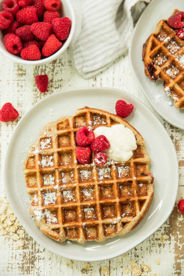 Raspberry Banana Oatmeal Greek Yogurt Waffles Kim S Cravings