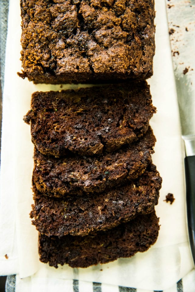 close up overhead view of Healthy Double Chocolate Zucchini Bread sliced