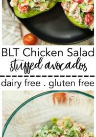 Pinterest image for BLT Chicken Salad Stuffed Avocados