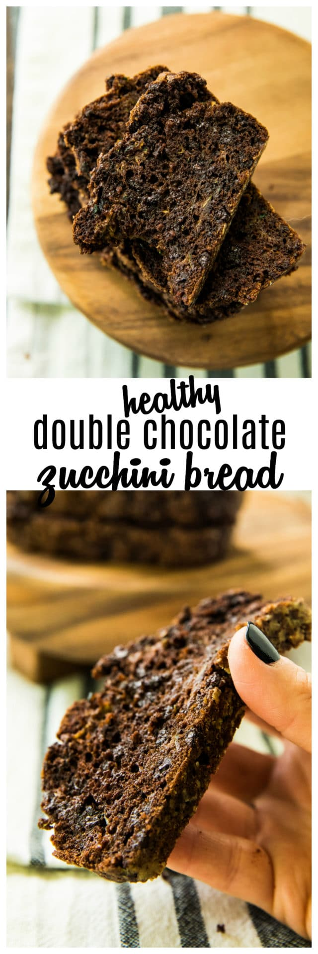 Pinterest image for Healthy Double Chocolate Zucchini Bread