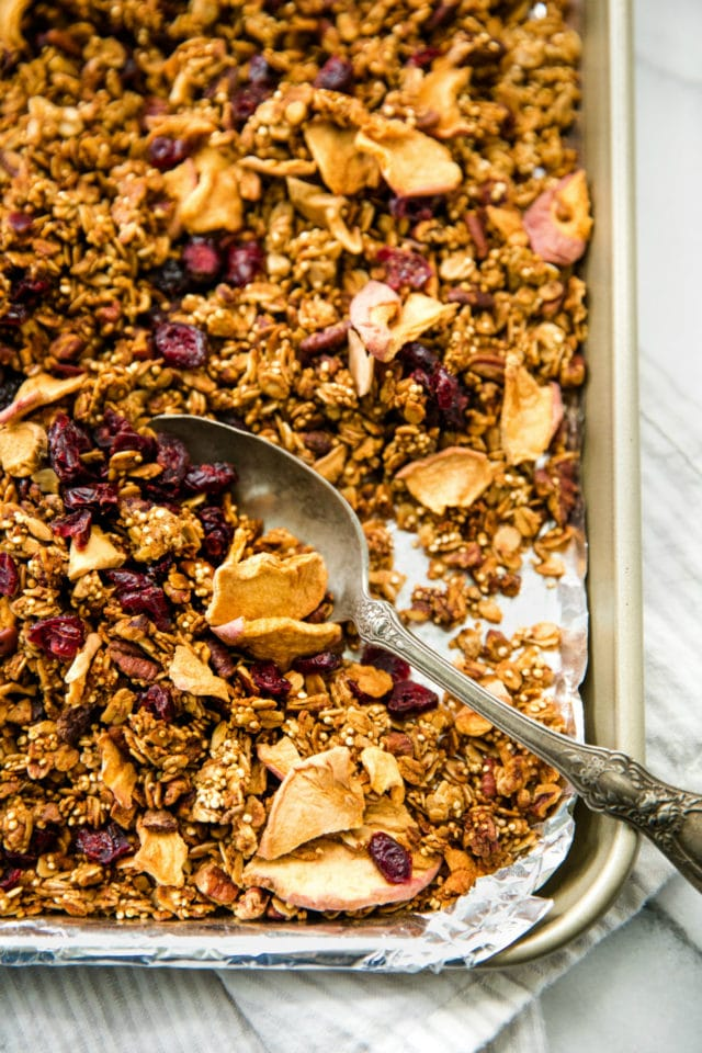 baking sheet with Apple Pecan Quinoa Granola
